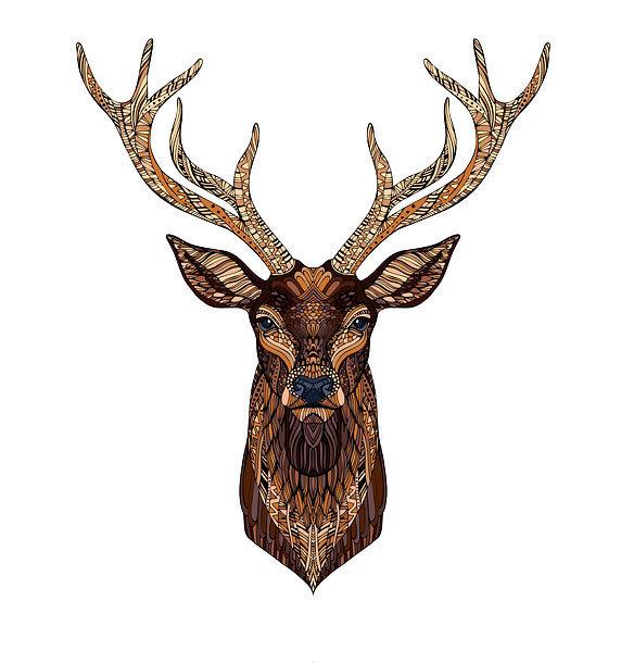 Deer Head Detailed Tattoo Design