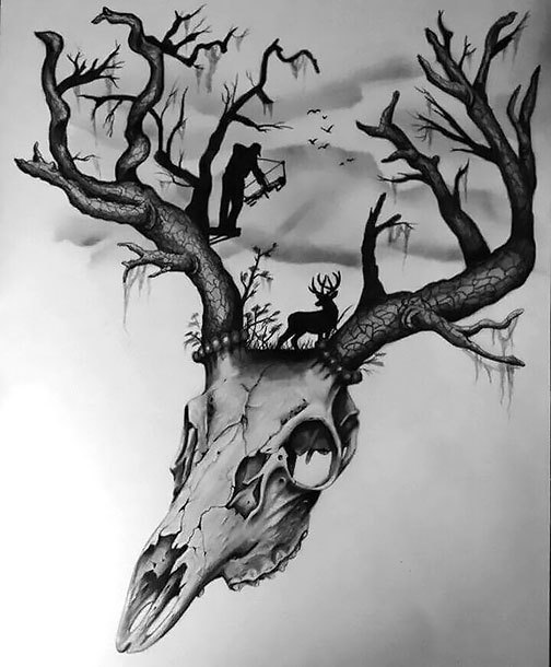 Deer Hunting for Men Tattoo Design
