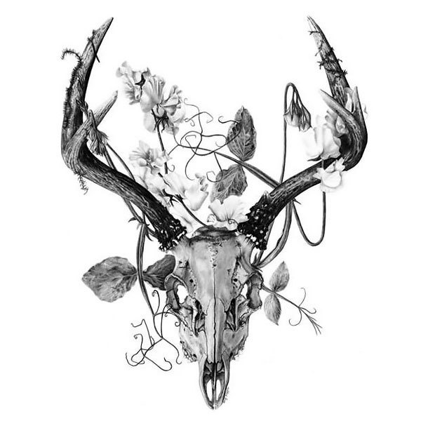 Deer Skull Tattoo Design