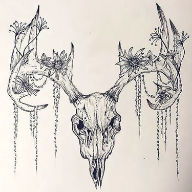 Deer Skull Flowers Tattoo