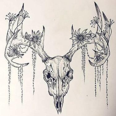 Deer Skull Flowers Tattoo