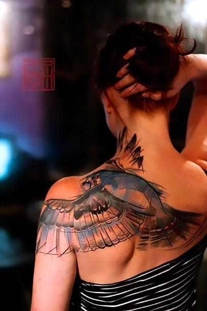 Best Feminine Hawk Tattoo Idea