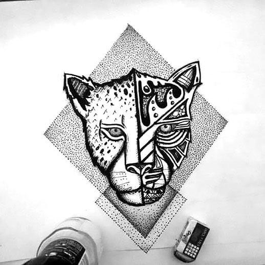Dotwork Cheetah Tattoo Design