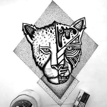 Dotwork Cheetah Tattoo