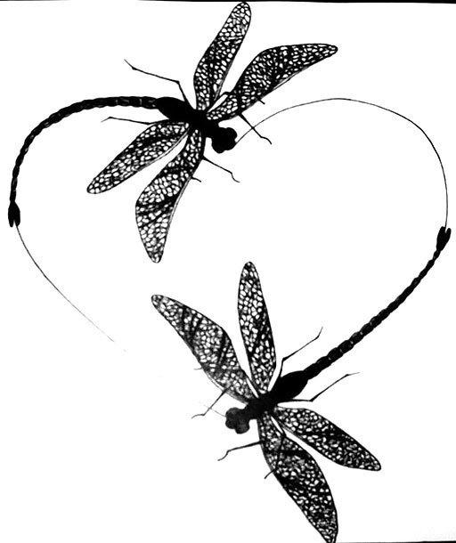 Dragonflies Heart Tattoo Design