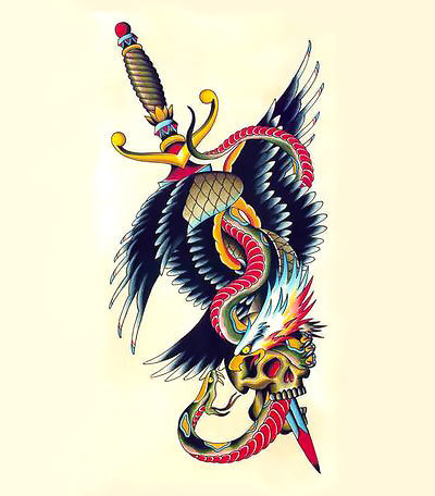 Eagle and Snake And Dagger Tattoo Design