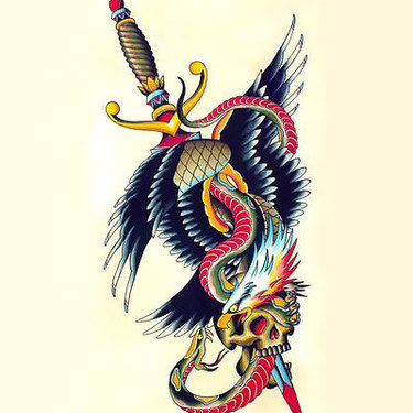 Eagle and Snake And Dagger Tattoo
