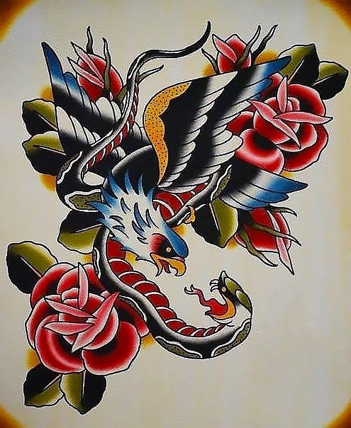 Eagle and Snake And Roses Tattoo Design