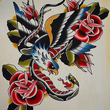 Eagle and Snake And Roses Tattoo