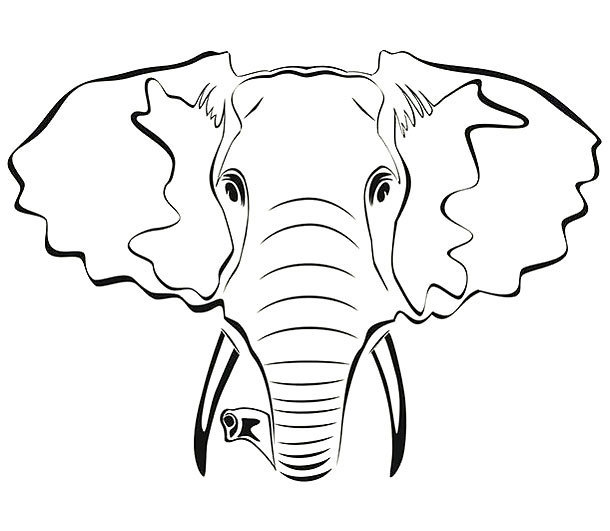 Elephant Outline Tattoo Design