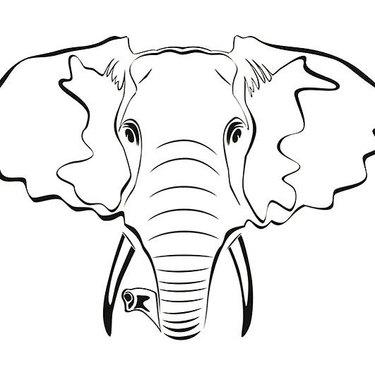 Elephant Outline Tattoo