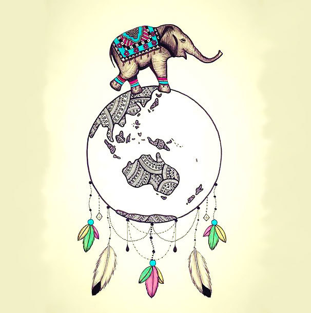 Elephant With Dream Catcher Tattoo Design