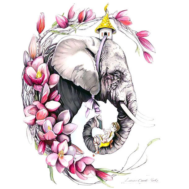 Elephant Colorful Face Tattoo Design