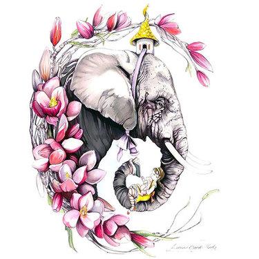Elephant Colorful Face Tattoo
