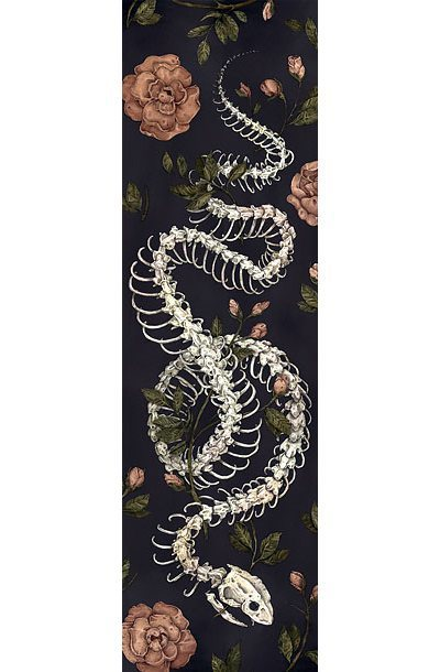Flowers and Snake Skeleton Tattoo Design