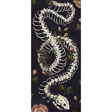 Flowers and Snake Skeleton Tattoo