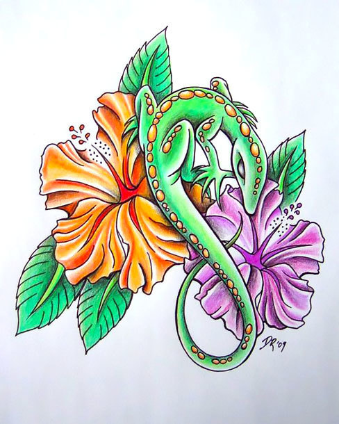 Flowers Lizard Tattoo Design