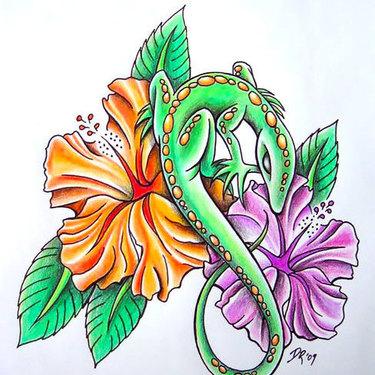 Flowers Lizard Tattoo