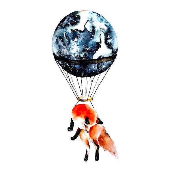 Flying Fox In Balloon Tattoo Design