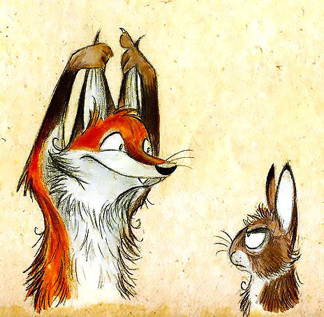 Fox and Bunny Tattoo Design