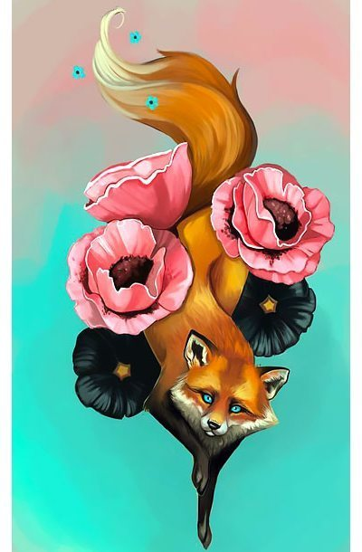 Fox on Flowers Tattoo Design