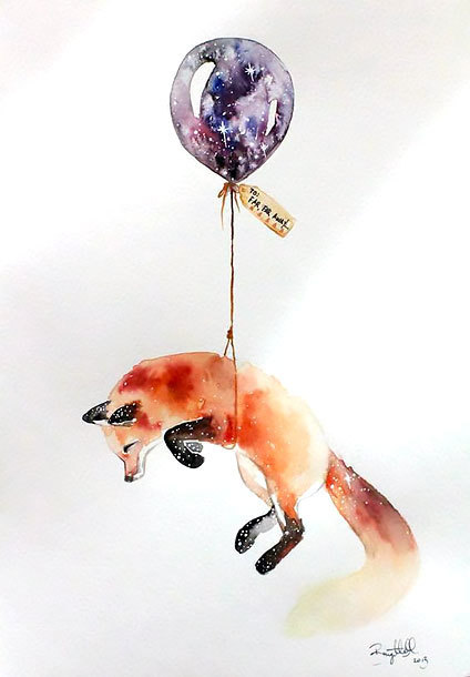 Fox With Balloon Tattoo Design