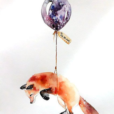 Fox With Balloon Tattoo