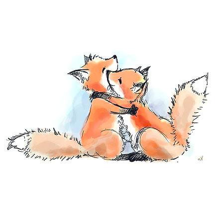 Foxes Friendship Tattoo Design