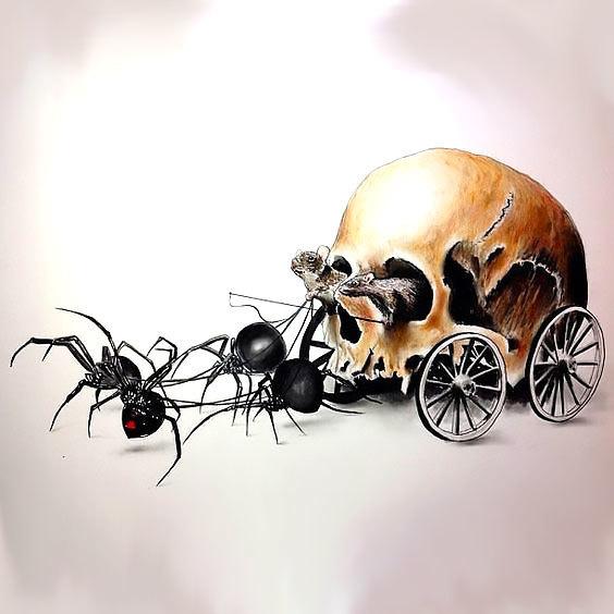 Funny Spider Skull Tattoo Design