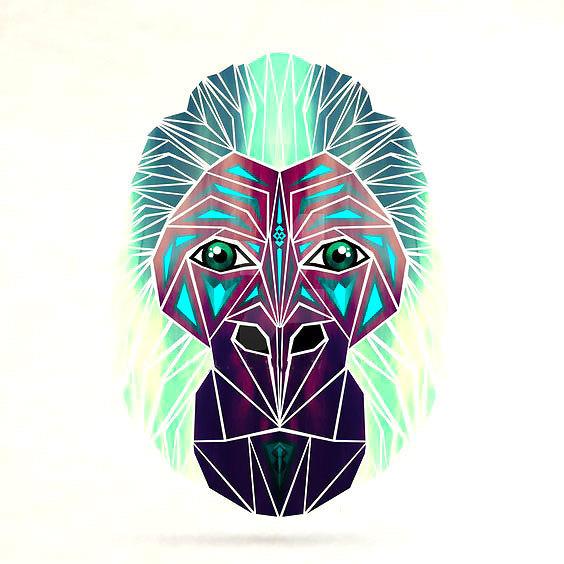 Geometric Gorilla Head Tattoo Design
