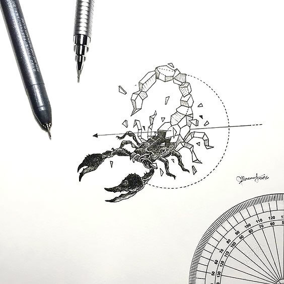 Geometric Scorpion Tattoo Design