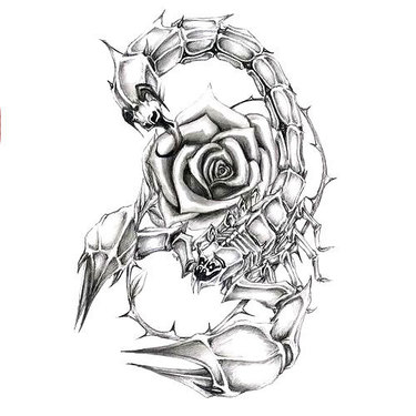 Girly Scorpion With Rose Tattoo