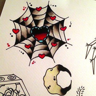 Girly Spider Web With Heart Tattoo