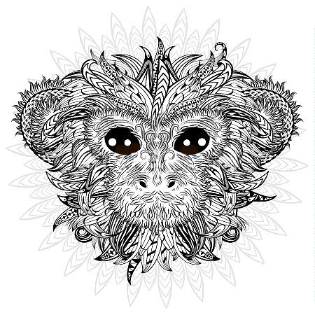 Golden Monkey Mandala Tattoo Design