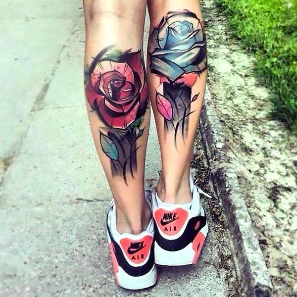 Best Flowers on Calfs Tattoo Idea
