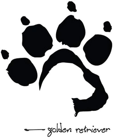 Golden Retriever Dog Paw Tattoo Design