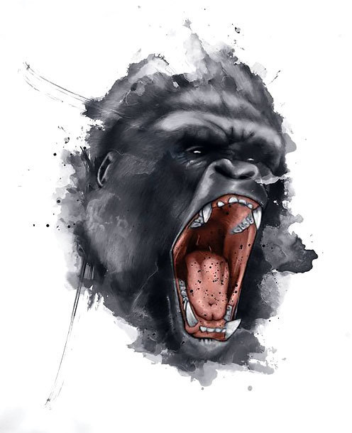Gorilla Face Tattoo Design