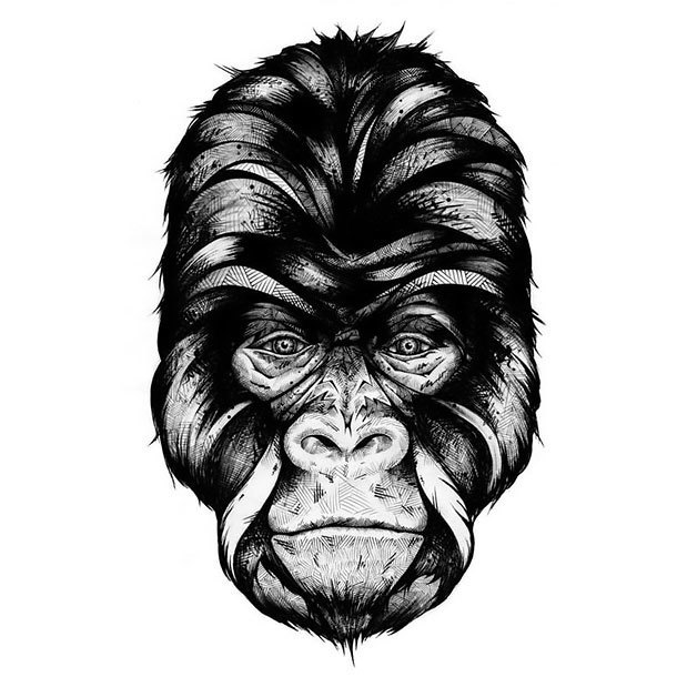 Gorilla Head Tattoo Design