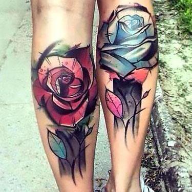 Best Flowers on Calfs Tattoo