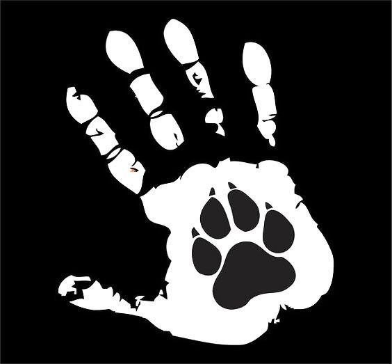 Hand and Dog Paw Tattoo Design