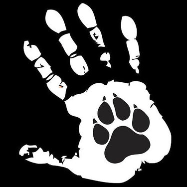 Hand and Dog Paw Tattoo