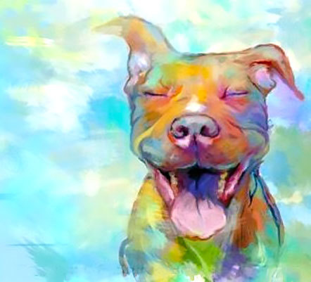 Happy Pitbull Tattoo Design