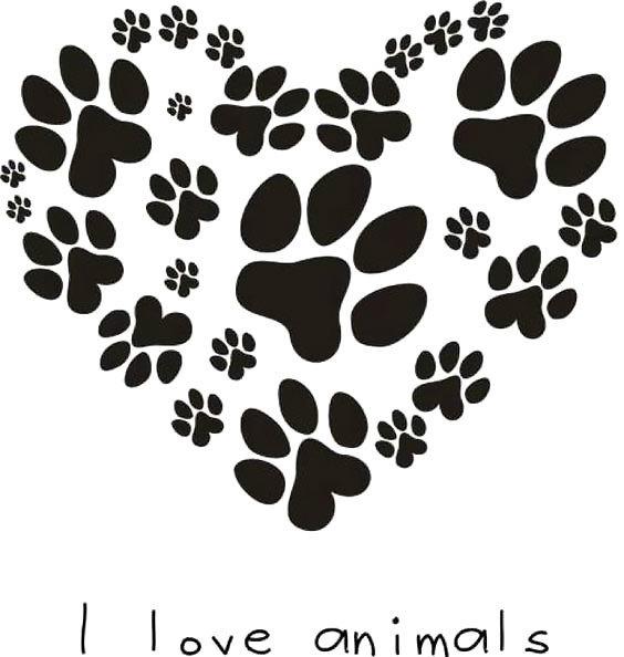 Heart Puppy Dog Paw Print Tattoo Design