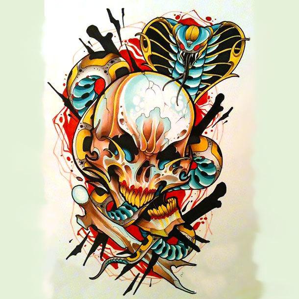 King Cobra Skull Tattoo Design