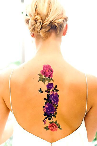 Best Flowers on Spine Tattoo Idea