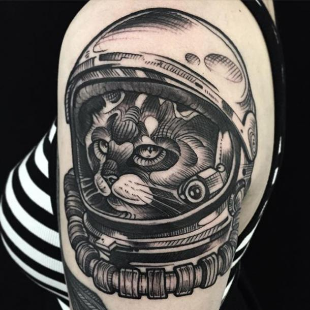 Astronaut Cat Tattoo Idea