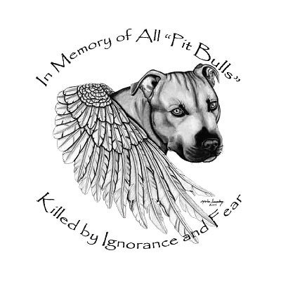 Memorial Pitbull Wings Tattoo Design
