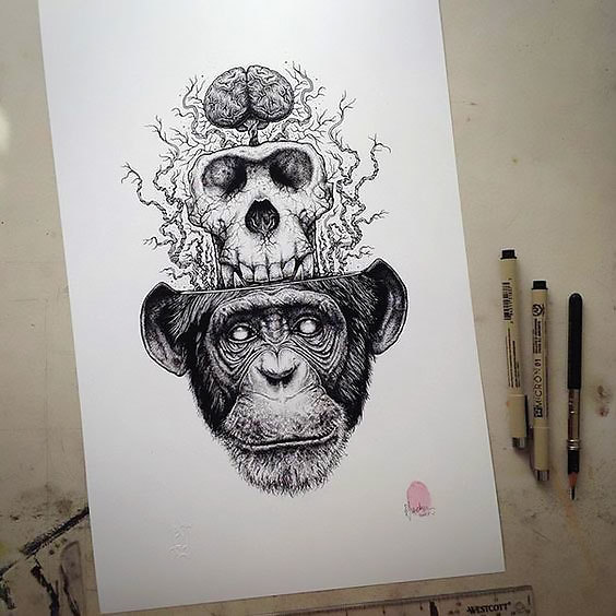 Monkey Skull Brain Tattoo Design