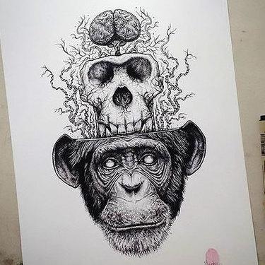 Monkey Skull Brain Tattoo