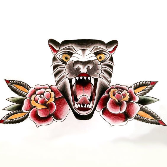 Old School Panther Tattoo Design